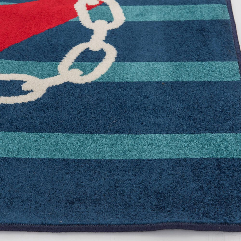 """Central Oriental Terrace Tropic Anchored Stripes 2344WO.085 6'7"""" x 9'6"""" Sapphire and Coral Area Rug, , large"""