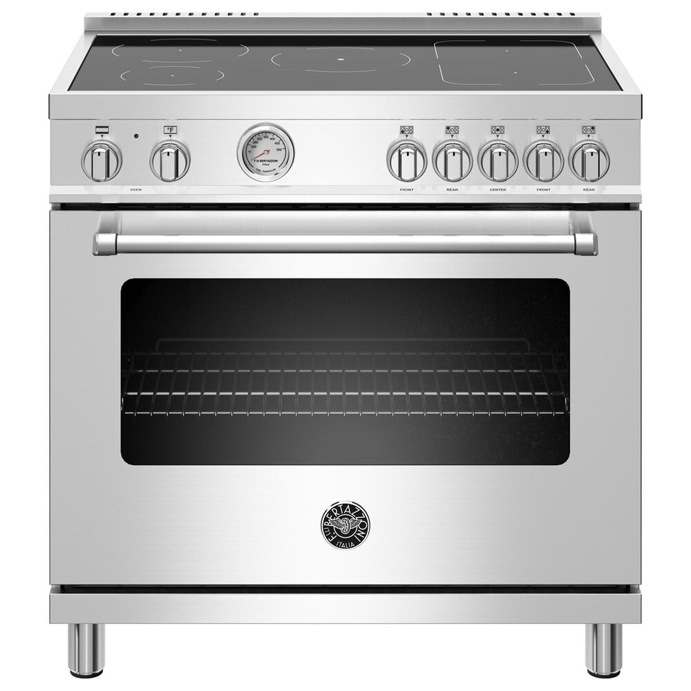 """Bertazzoni 36"""" Induction Range with 5 Heating Zones in Stainless Steel, , large"""
