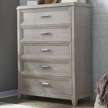 Belle Furnishings Belmar 5 Drawer Chest in Washed Taupe and Silver Champagne, , large