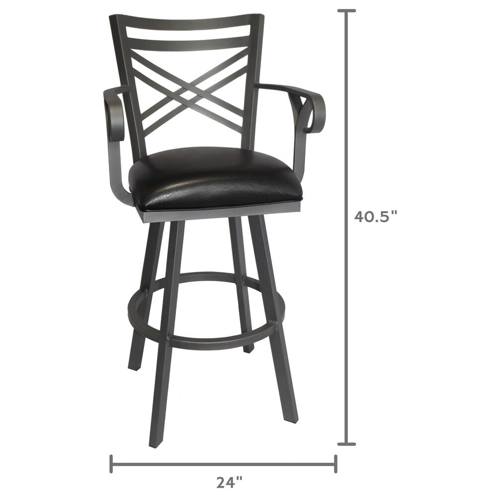 "Delaware Dining Rebecca 26"" Swivel Barstool in Flintrock Grey/Black, , large"