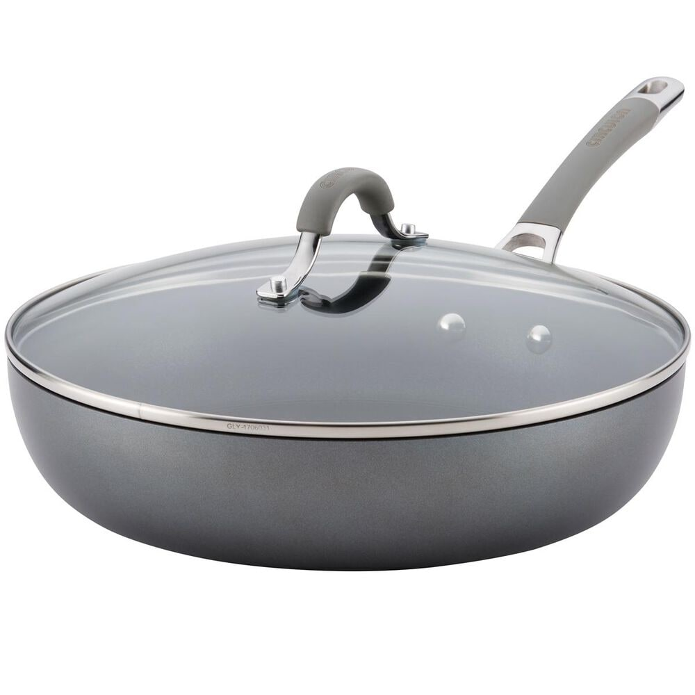 """Circulon Cookware 12"""" Covered Deep Skillet in Oyster Gray , , large"""