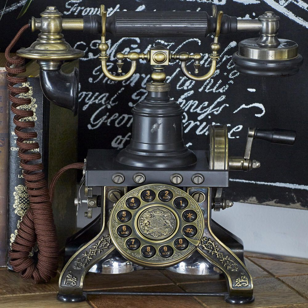 """Maple and Jade  12"""" Vintage Brass Telephone in Black, , large"""