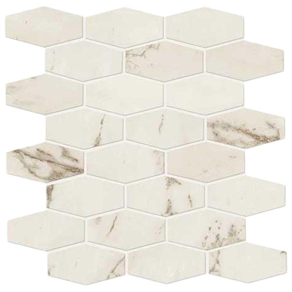 "Marazzi Classentino Palazzo White 12"" x 12"" Linear Hexagon Porcelain Mosaic Sheet, , large"