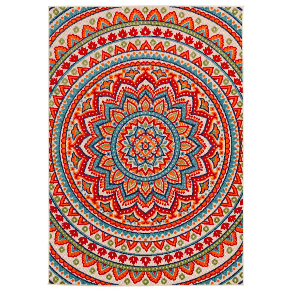 "Central Oriental Fontana Panyin 1657.04 7'10"" x 9'10"" Cream and Red Area Rug, , large"