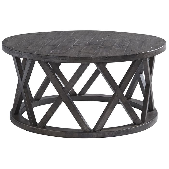 Signature Design by Ashley Sharzane Round Cocktail Table in Grayish Brown