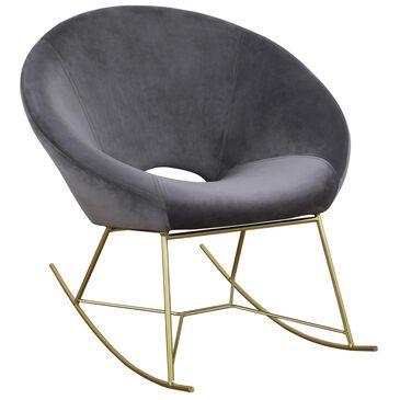 Tov Furniture Nolan Velvet Rocker Chair in Grey, , large