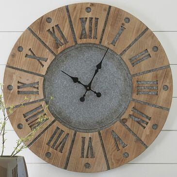 Signature Design by Ashley Payson Wall Clock in Antique Gray/Natural, , large