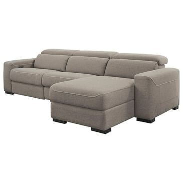 Signature Design by Ashley Mabton 3-Piece Power Reclining Right Facing Sectional with Chaise in Gray, , large