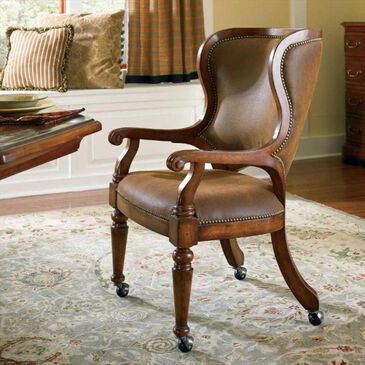 Hooker Furniture Waverly Place Tall Back Castered Game Chair in Rich Brown, , large