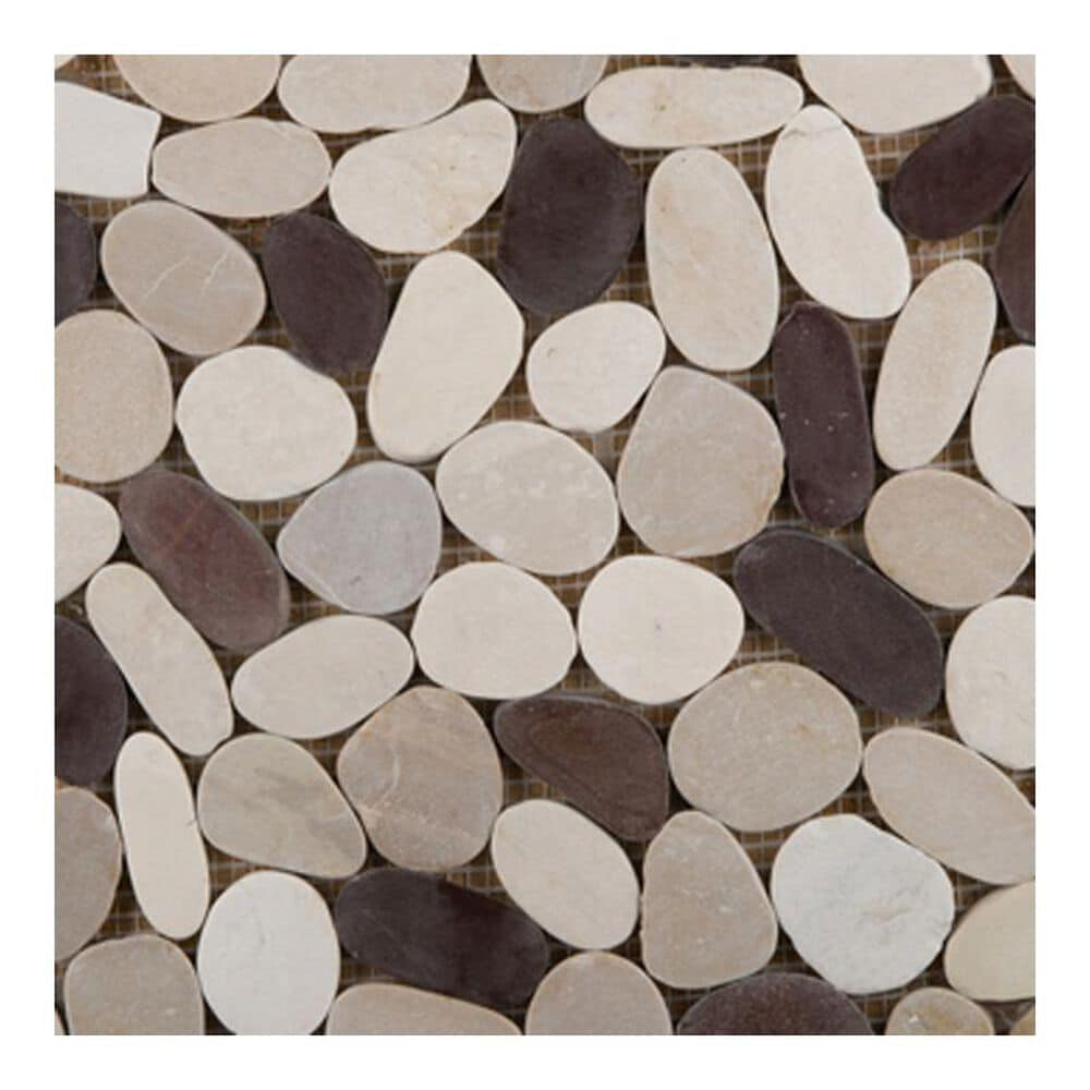 "Emser Venetian Pebbles Gelato Blend 12"" x 12"" Natural Stone Mosaic Sheet, , large"