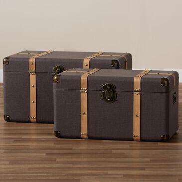 Baxton Studio Stephen 2-Piece Storage Trunk Set in Dark Brown/Oak Brown, , large