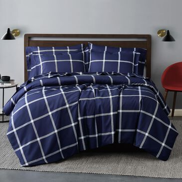Pem America Truly Soft 3-Piece Full/Queen Comforter Set in White and Navy, , large