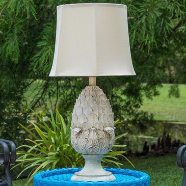 Kenroy Artichoke Outdoor Table Lamp in Roman White Finish, , large
