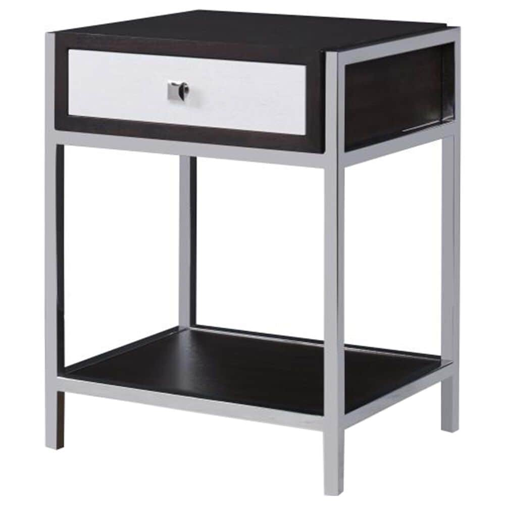Century Aria 1 Drawer Nightstand in Brownstone and Polished Stainless Steel, , large