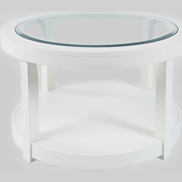Waltham Urban Icon Round Cocktail Table in Polished White, , large