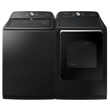 Samsung 5.4 Cu. Ft. Top Load Washer and 7.4 Cu. Ft. Electric Dryer Laundry Pair in Black Stainless Steel, , large