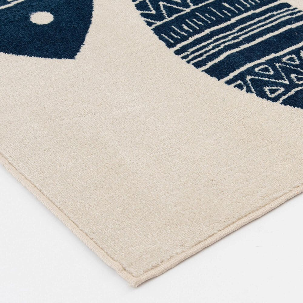 """Central Oriental Terrace Tropic Friendly 2343NP.085 7'10"""" x 9'10"""" Snow and Sapphire Area Rug, , large"""
