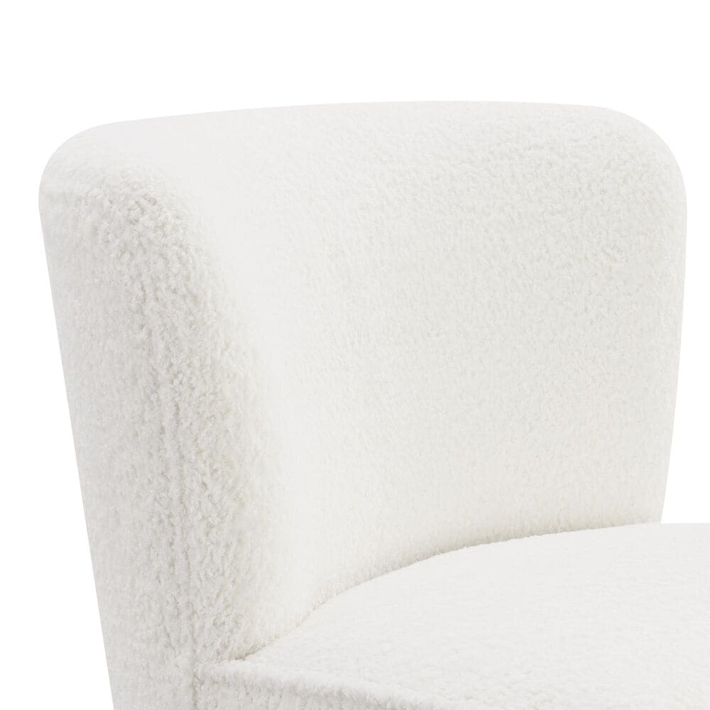 Accentric Approach Armless Chair in White Faux Sheep Skin, , large