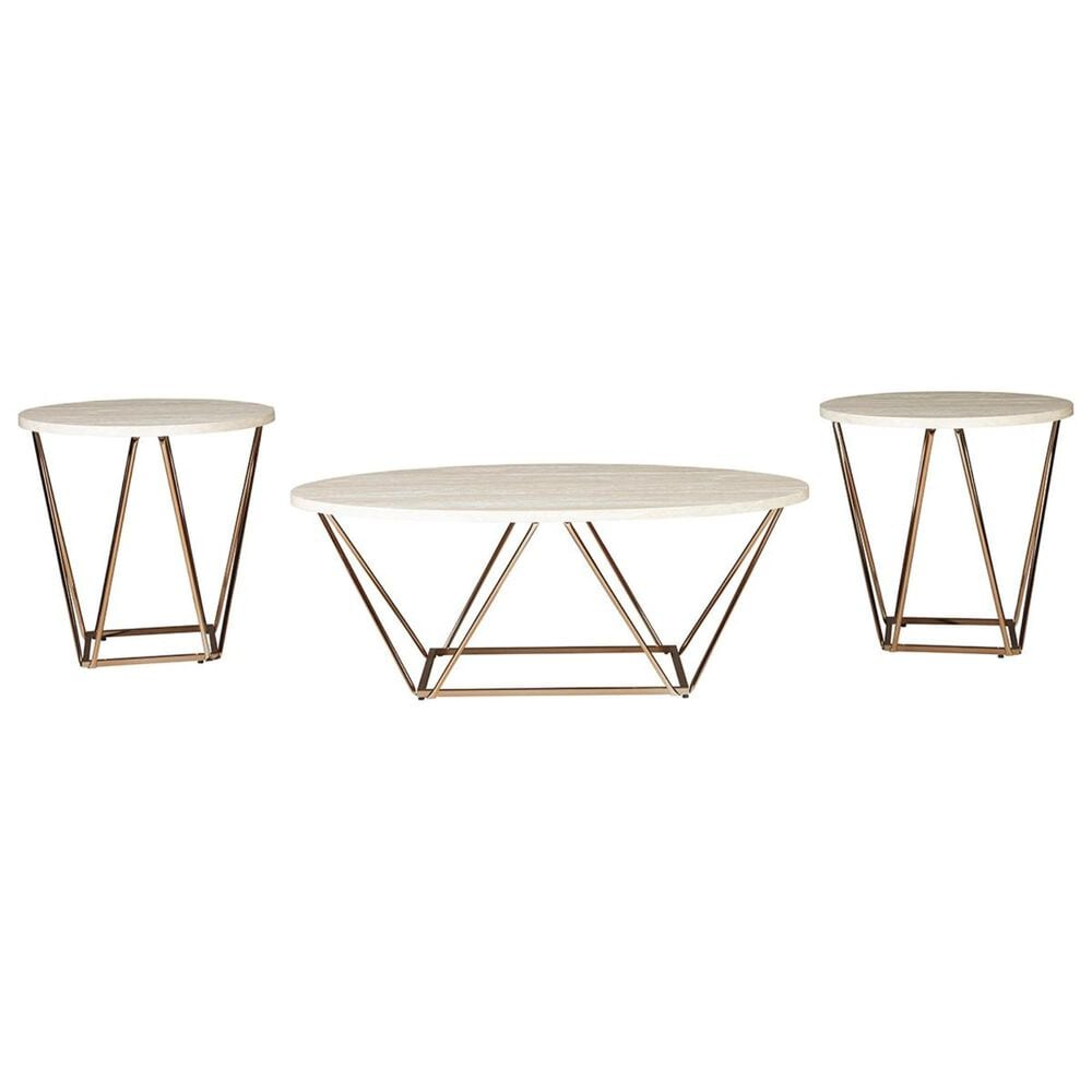 Signature Design by Ashley Tarica Occasional Table Set in Light Gold - Set of 3, , large