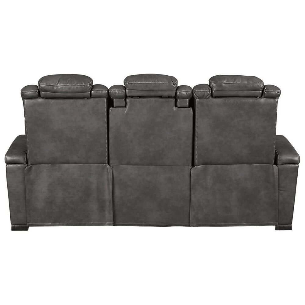 Signature Design by Ashley Turbulance Power Reclining Sofa with Adjustable Headrest in Quarry, , large