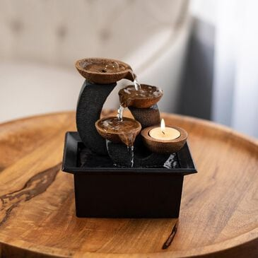 Timberlake Pure Garden Candle Holder Water Fountain in Earth Tones, , large