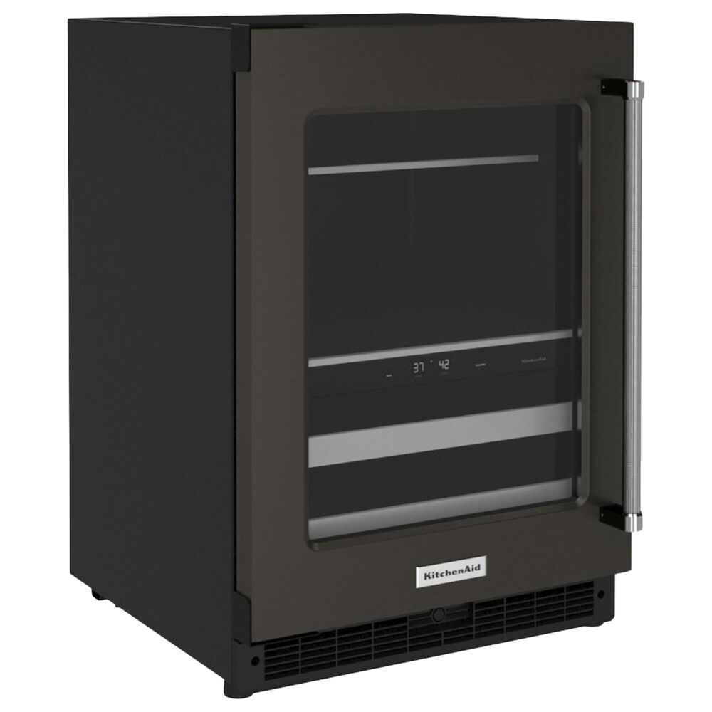 """KitchenAid 24"""" Beverage Center with Left Hinge and Metal-Front Racks in Black Stainless Steel, , large"""