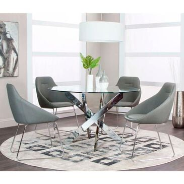 Penny Lane Nobel 5-Piece Dining Set in Chrome and Charcoal, , large