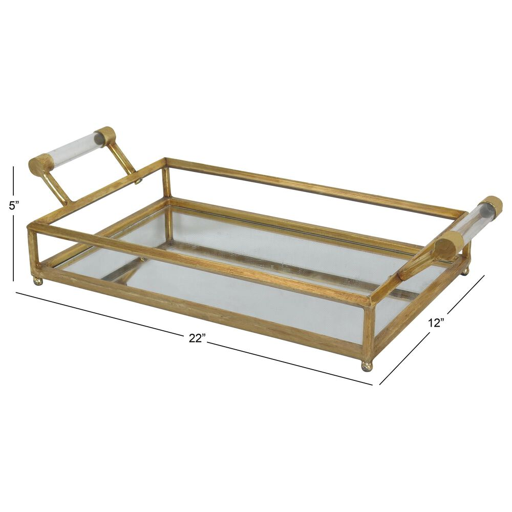 """Maple and Jade 22"""" Tray in Gold, , large"""
