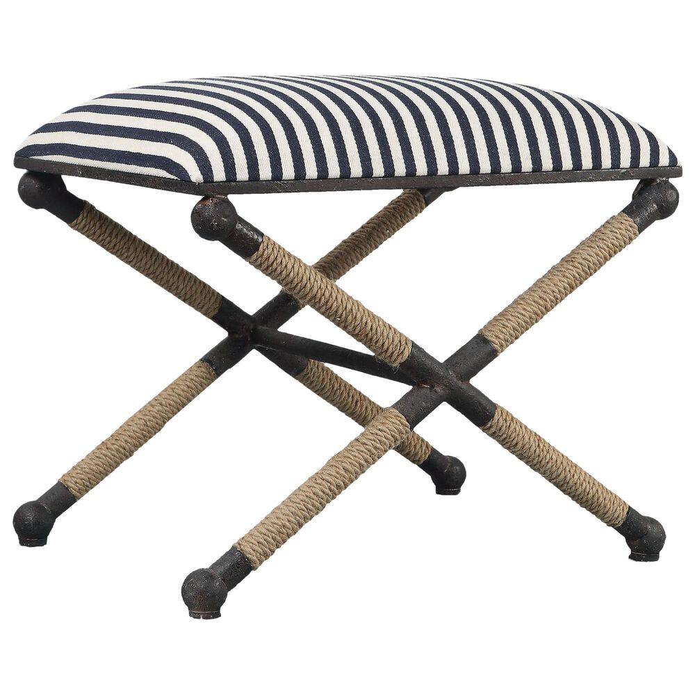 Uttermost Braddock Bench in Crisp Navy And Cream Sailor-striped Cotton , , large