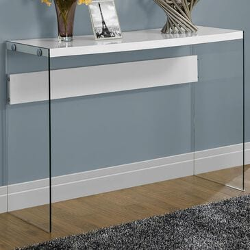 Monarch Specialties Accent Table in White with Glossy Finish, , large