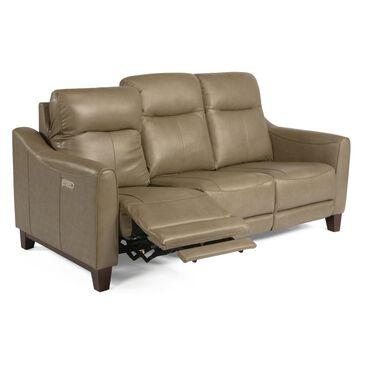Flexsteel Forte Leather Power Reclining Sofa with Power Headrest in Mushroom, , large