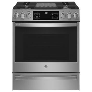 "GE Appliances 30"" Smart Slide-In Front-Control Gas Range in Fingerprint Resistant Stainless Steel, , large"