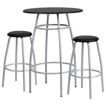 Flash Furniture 3-Piece Bar Table Set in Black, , large