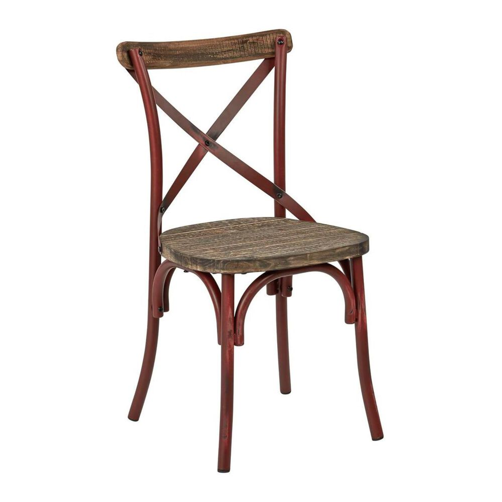 OSP Home Somerset X-Back Chair in Antique Red and Walnut, , large