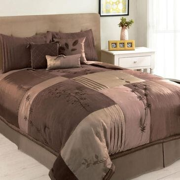 Epoch Hometex Back To Nature 7 Piece Twin Comforter Set in Mocha, , large