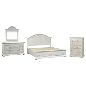 Belle Furnishings Summer House I 4 Piece Queen Storage Bed Set in Oyster White, , large