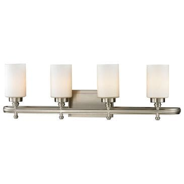 Stein World Dawson 4-Light Vanity In Brushed Nickel And Opal White Glass, , large