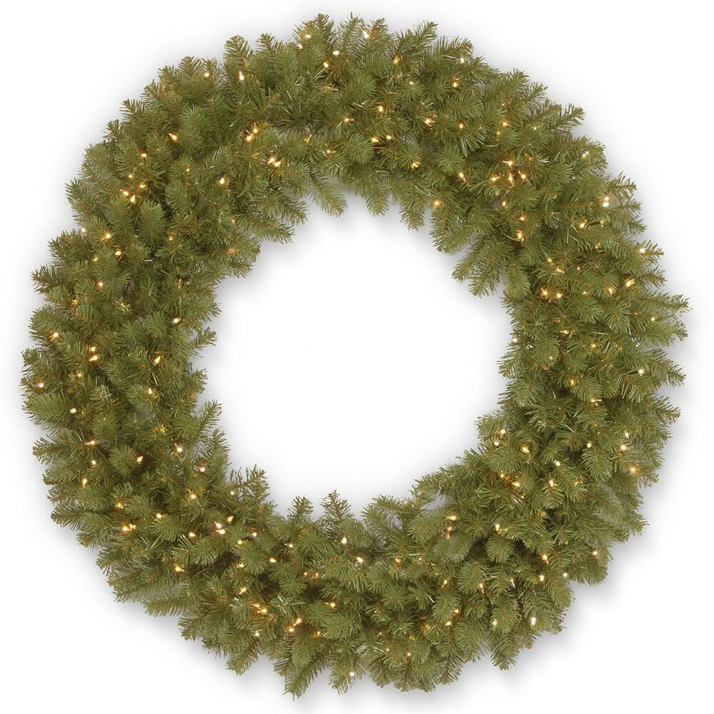 "National Tree 48"" Downswept Douglas Fir Wreath with White Lights, , large"
