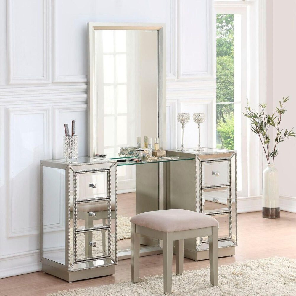 Shell Island Furniture Elsinore Vanity and Mirror in Champagne, , large