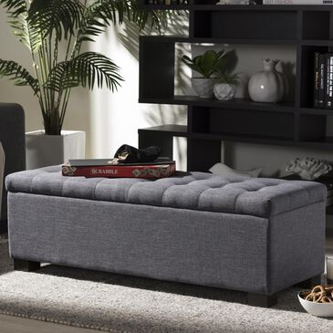 Baxton Studio Roanoke Upholstered Storage Ottoman Bench in Dark Grey, , large