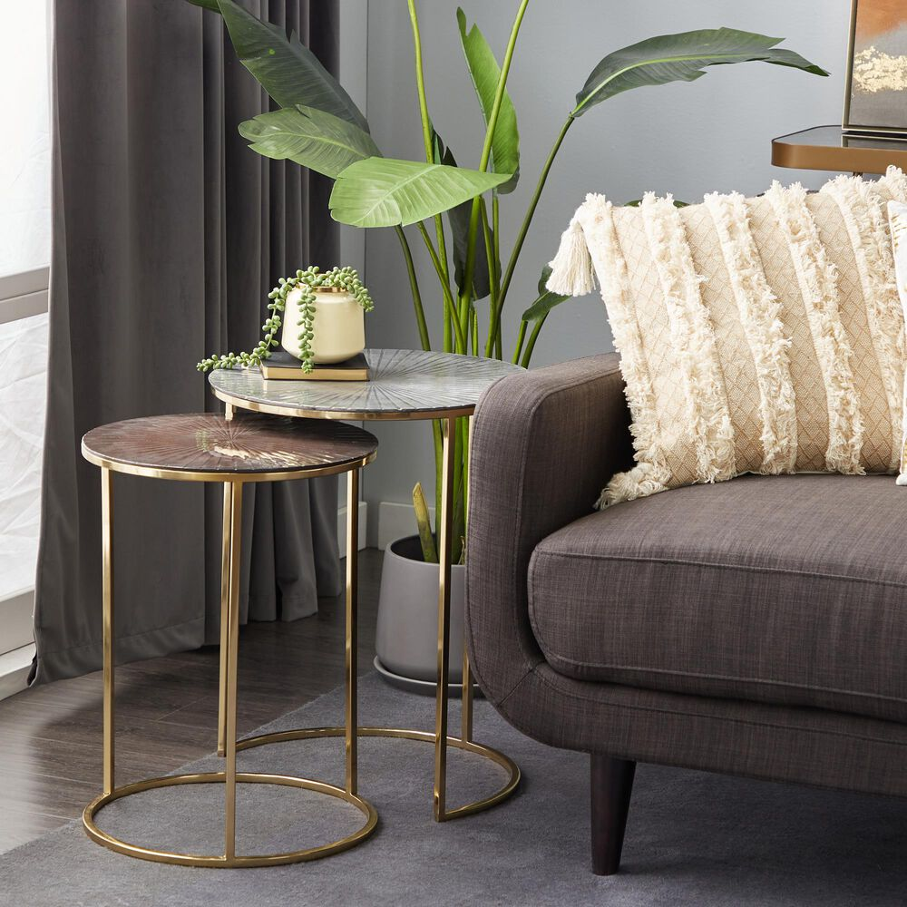 Maple and Jade Aluminum Nesting Accent Tables in Multi Colored (Set of 2), , large