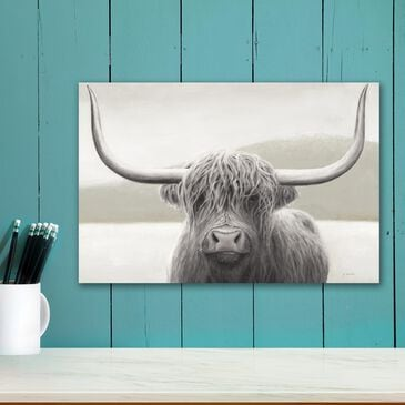"""Courtside Market Highland Cow Neutral 12"""" x 18"""" Canvas Wall Art, , large"""