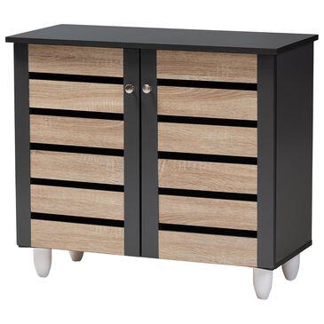 Baxton Studio Gisela 2-Door Shoe Storage Cabinet in Oak/Dark Gray, , large