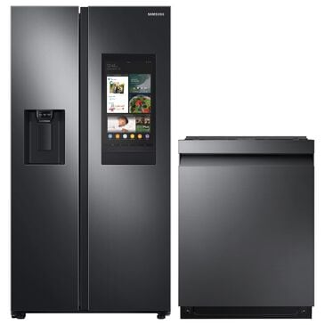 Samsung 2-Piece Kitchen Package with 26.7 Cu. Ft. Side-By-Side Refrigerator and StormWash 42 dBA in Black Stainless Steel, , large