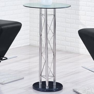 Global Furniture USA Bar Table in Black, Chrome, and Clear Top, , large