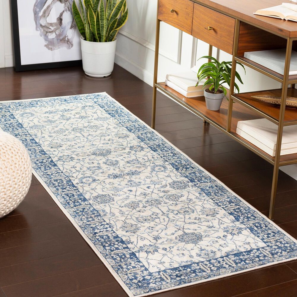 """Surya Monaco MOC-2317 2'6"""" x 8' Navy, Cream and Silver Gray Scatter Rug, , large"""