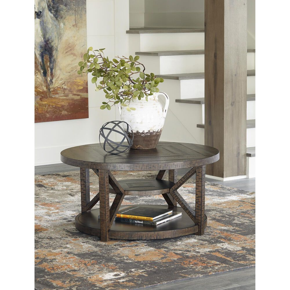 Signature Design by Ashley Jessoli Round Cocktail Table in Brown, , large