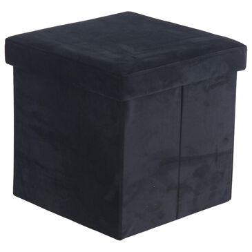 "Maple and Jade Modern 15""  Fabric Storage Stool Black, , large"