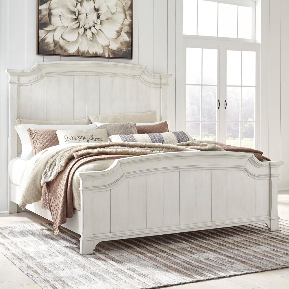 Signature Design by Ashley Nashbryn Queen Panel Bed in Whitewash, , large