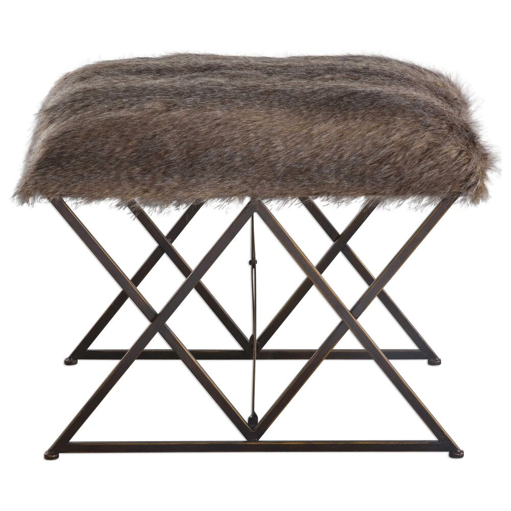 Uttermost Brannen Bench with Brown Faux Fur , , large
